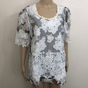 2/$49 🆕 Pretty Angel Lace Semi Sheer Floral Top